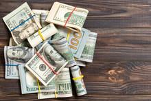 US Dollar Bills Bundles Stack....