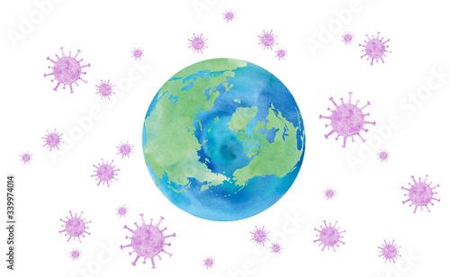 Obraz コロナウィルスに囲まれた地球イメージ :北極、ロシア、カナダ、グリーンランド、アイスランド。トレースベクター。 - fototapety do salonu