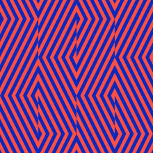 Vector Geometric Lines Seamless Pattern. Modern Bright Neon Texture With Diagonal Stripes, Broken Lines, Chevron, Zigzag. Simple Abstract Geometry. Red And Blue Graphic Background. Trendy Design