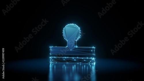 Photographie 3d rendering wireframe neon glowing symbol of stamp on black background with ref