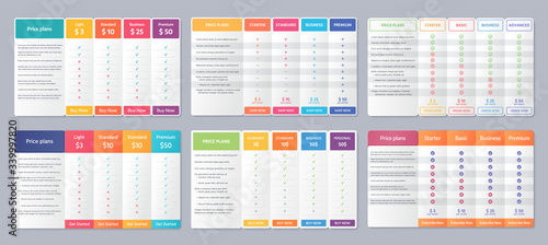 Obraz Table price template. Vector. Comparison plan chart. Set pricing data grid with 4 columns. Checklist compare tariff banner. Comparative spreadsheet with options. Color illustration. Flat simple design - fototapety do salonu