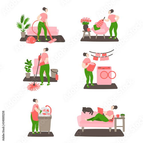 Fototapeta Happy young girl cleans the house. Woman washing, cleaning, vacuuming at home. Daily life and routine by young woman at home. Flat cartoon vector illustration obraz na płótnie