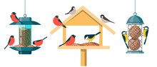 Different Types Of Bird Feeders - Hopper Or House Feeder, Nyjer Feeder And Suet Feeder. Illustrations In A Flat Cartoon Style Isolated On White Background.