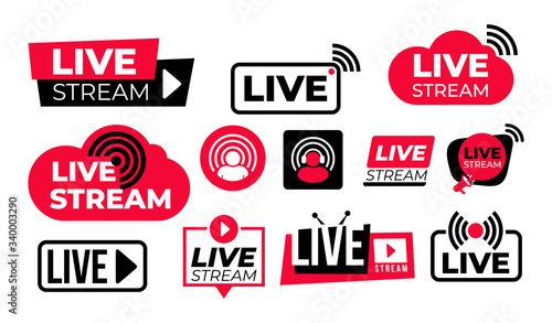 Fényképezés Set of live streaming vector icons