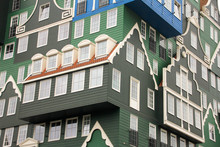 Part Of The Hotel Inntel Zaandam With Colorful Houses On Top Of Each Other