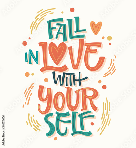 Fototapeta Colorful body positive lettering design - Fall in love with yourself. Hand drawn inspiration phrase. obraz
