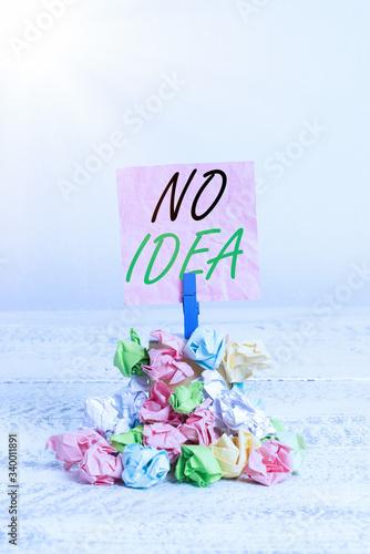 Photo Conceptual hand writing showing No Idea