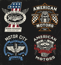 Vintage Motorcycle Badge, Label, Logo, T-shirt Graphic Set