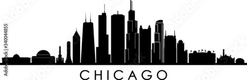 Photographie CHICAGO ILLINOIS City Skyline Silhouette Cityscape Vector