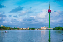 Colombo Cityscape Photo With Iconic Colombo Lotus Tower And Lake