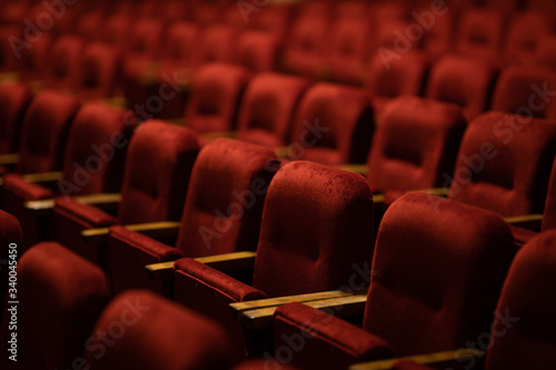red velvet seats for spectators in the theater or cinema Canvas