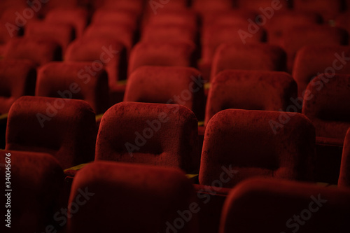 red velvet seats for spectators in the theater or cinema Canvas Print