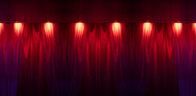 Theater Curtain And Stage Light. Texture Background For Design.