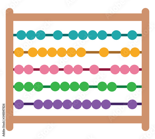 Abacus math, illustration, vector on white background Canvas Print