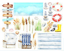 Beach Clipart With Signpost, S...