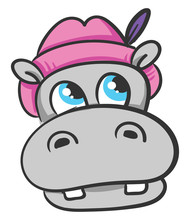 Hippo With Pink Hat, Illustrat...