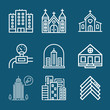 Set of 9 villages outline icons