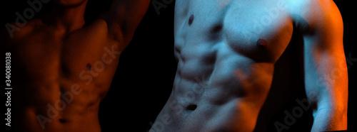 Obraz na płótnie Two naked athlete with strong body