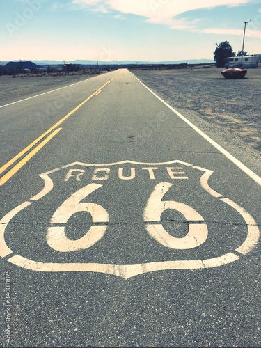 High Angle View Of Route 66 On Empty Road Canvas Print