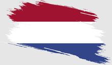 Netherlands Flag With Grunge T...