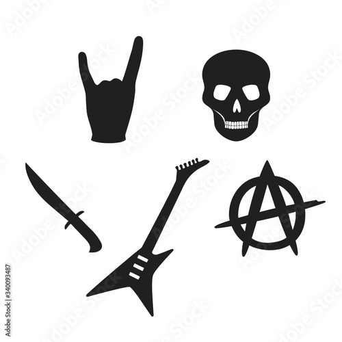 Obraz na płótnie black rock Gothic set skull guitar hand knife anarchy vector