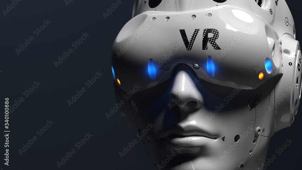 Fototapeta Robot face with VR glasses. illustration on the theme of vr entertainment, online games