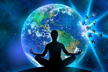 Female Yoga Figure Against A Space Background And A Planet Earth Made Of Jigsaw Puzzle During Disintegration Becouse Of Explosion. Elements Of This Image Furnished By NASA.