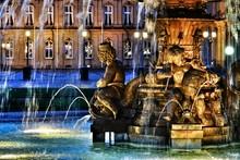 Fountain At Schlossplatz During Night