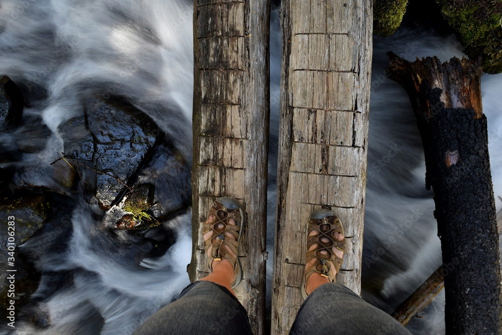 Fototapeta Low Section Of Person Standing On Logs Over Stream