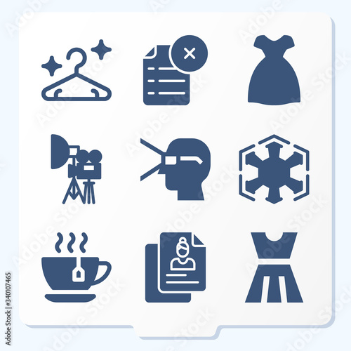 Simple set of 9 icons related to aristocracy Wallpaper Mural