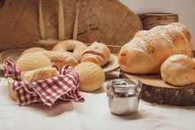 Baked Breads On Wooden Table B...