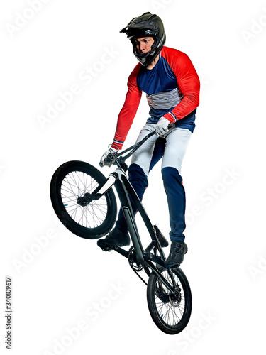 Fototapeta BMX racer man silhouette isolated white background