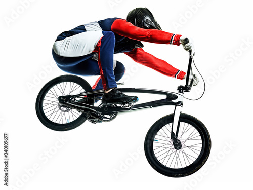 Tela BMX racer man silhouette isolated white background