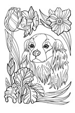 A Beautiful Puppy In A Flower Wreath. Coloring Book Page. A Pedigree Dog In A Wreath Of Spring Flowers. Vector Illustration For A Postcard Or A Poster, Print For Clothes.