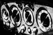 Close-up Of Gauges In Vintage ...