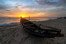 White Beach With Long Tail Boats And Fisherman In Summer Of Tropical In Vinh Thanh, Hue, Vietnam.