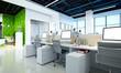 3d render modern working office room