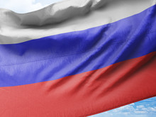 Waving  Flag Of Russia In Blue...