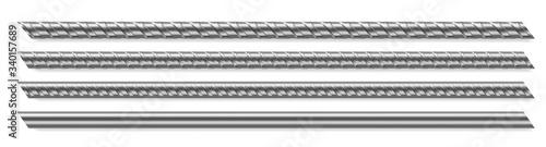 Metal rod, steel reinforced rebar Fototapet