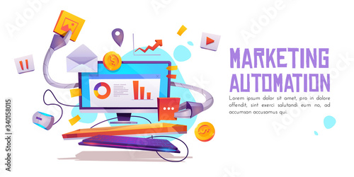 Marketing automation banner Canvas Print