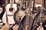 Acoustic folk and bluegrass instruments on Instrument Stands. Guitar, banjo, mandolin, bass mandolin.