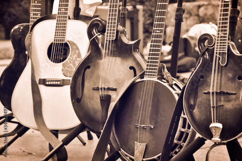 Fotomural Acoustic folk and bluegrass instruments on Instrument Stands