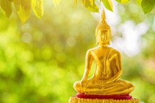 A Golden Buddha Statue Sitting...