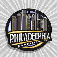 Vector Logo For Philadelphia, Black Decorative Circle Badge With Line Illustration Of Modern Philadelphia City Scape On Sky Background, Tourist Fridge Magnet With Unique Letters For Word Philadelphia.