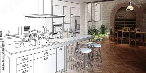 Kitchen inside aLoft (draft) - 3d illustration Tapéta, Fotótapéta