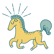 Traditional Tattoo Style Prancing Stallion