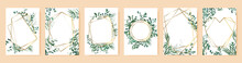 Green Leaf Frames. Spring Wedding Invitations, Floral Branches Gold Geometric Borders. Elegant Floral Frames Vector Isolated Symbols Set. Poster And Banner With Bouquet Frame Floral Illustration