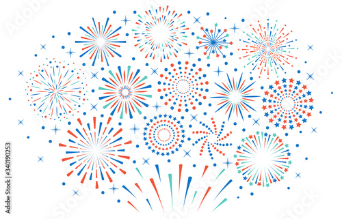 Happy 4th July fireworks. Celebration firework explode, carnival party firecracker explosions. Colorful festival fireworks vector illustration. Sparkle firecracker, graphic explosive sparkling