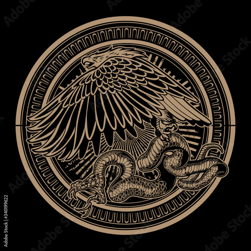 Obraz na plátně Snake and Eagle on circle Gold Vintage vector logo design illustration
