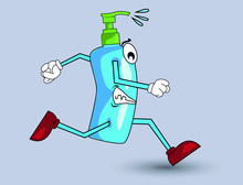 Illustration Of Running Sanitize As A Cute Character For Children.